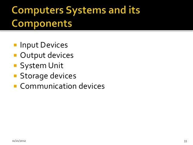     Input Devices    Output devices    System Unit    Storage devices    Communication devices11/21/2012             ...