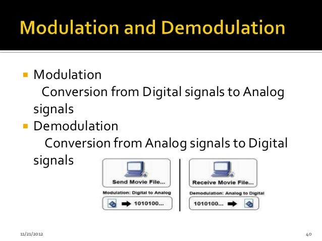     Modulation       Conversion from Digital signals to Analog     signals    Demodulation       Conversion from Analog ...