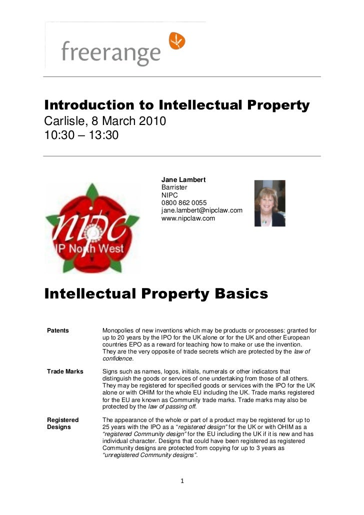 Introduction to Intellectual PropertyCarlisle, 8 March 201010:30 – 13:30                                   Jane Lambert   ...