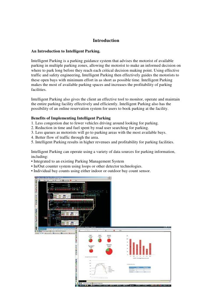Introduction  An Introduction to Intelligent Parking.  Intelligent Parking is a parking guidance system that advises the m...