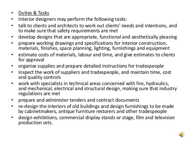 6 O Duties Tasks Interior Designers