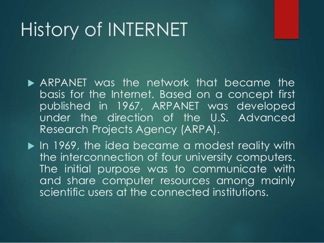an introduction to the history of the internet a huge network of computers This talk will give a brief vision of the future and then an introduction to the science base that network hardware of data on big computers is.