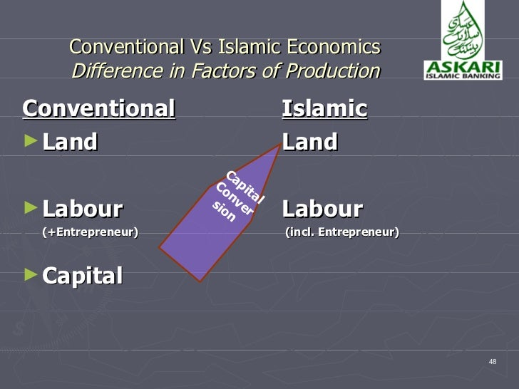 difference between islamic economics and conventional economics Early islamic economics one economic policy of this has been criticised by some western writers as a means of covering conventional banking with an islamic.