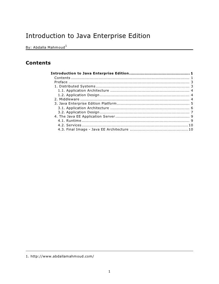 Introduction to Java Enterprise Edition                       1 By: Abdalla Mahmoud    Contents             Introduction t...