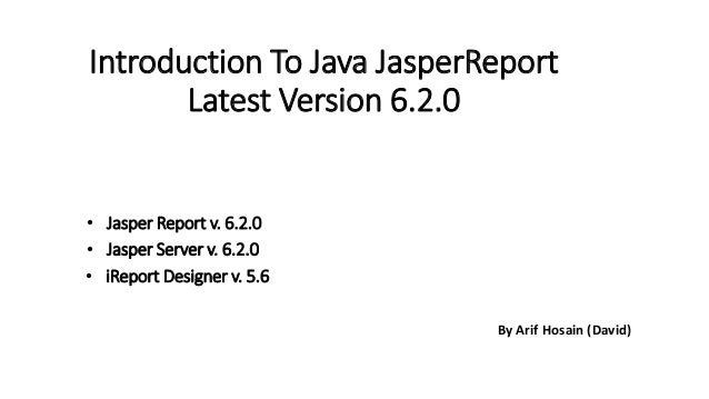Introduction to java Jasper Report with Server & iReport