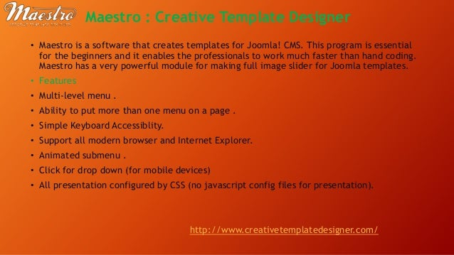 Introduction to joomla top 5 joomla template generator 4 maestro creative template pronofoot35fo Choice Image