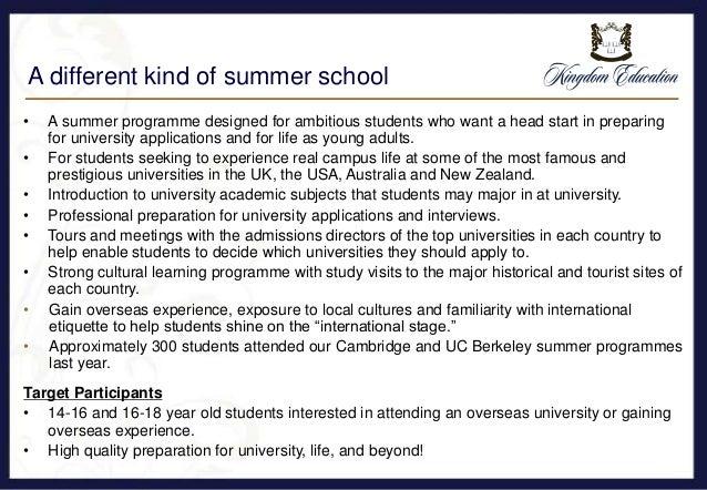 Introduction to kingdom education summer school programmes 2016 Slide 3