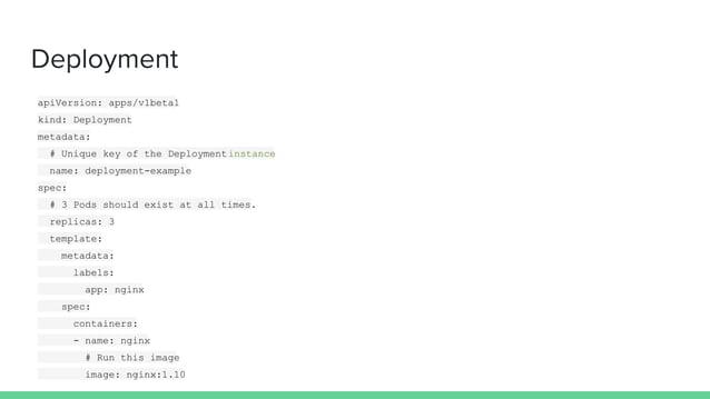 Deployment apiVersion: apps/v1beta1 kind: Deployment metadata: # Unique key of the Deploymentinstance name: deployment-exa...
