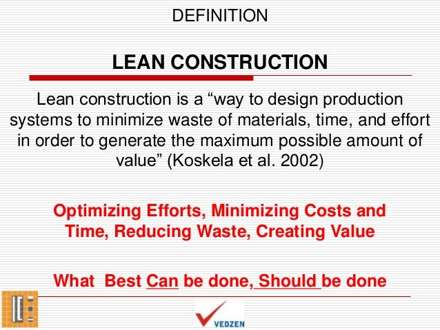 Introduction to lean construction for Definition construction