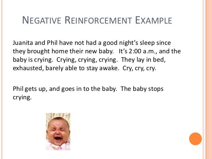 negative reinforcement examples with children