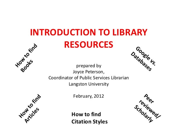 INTRODUCTION TO LIBRARY      RESOURCES                prepared by              Joyce Peterson,   Coordinator of Public Ser...