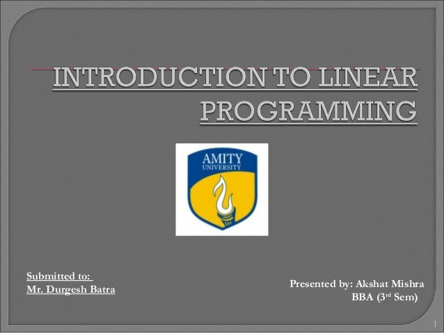 Introduction to Linear Programming