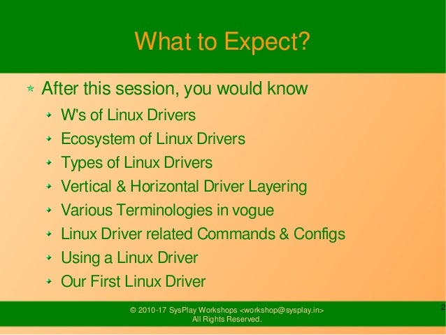 Introduction to Linux Drivers Slide 2