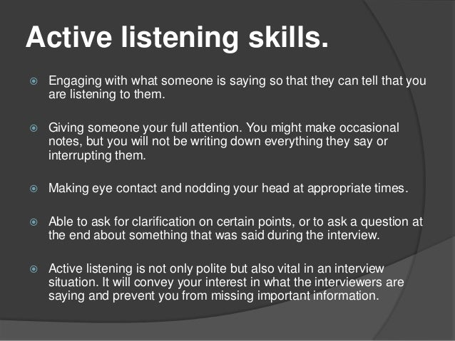 Introduction to listening skills.