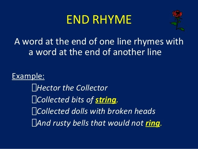 Examples of end rhyme in poetry youtube.