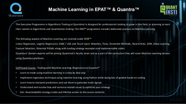 Introduction to machine learning for quantitative finance