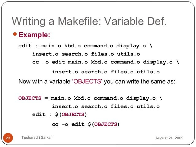 Makefile Template | Introduction To Makefile