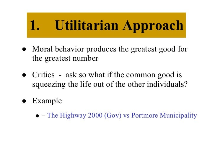 Utilitarian approach - Term paper Example