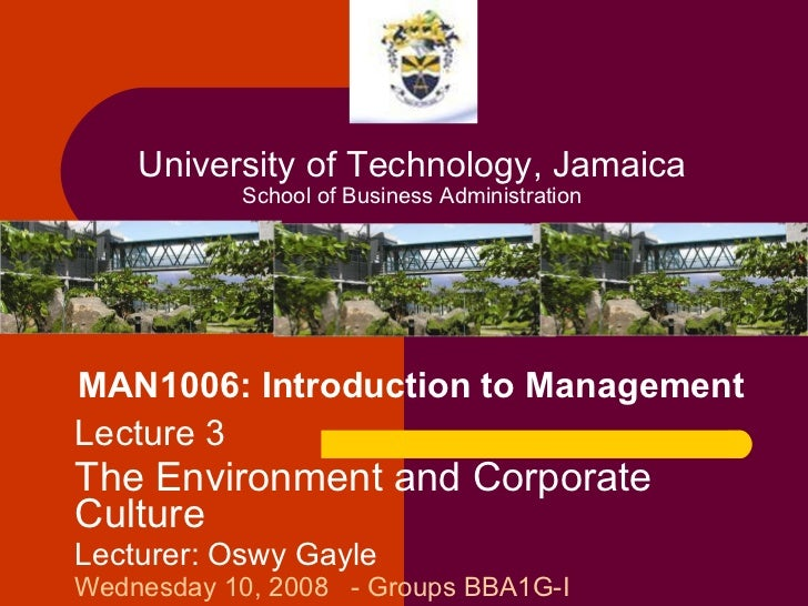 MAN1006: Introduction to Management Lecture 3 The Environment and Corporate Culture Lecturer: Oswy Gayle Wednesday 10, 200...