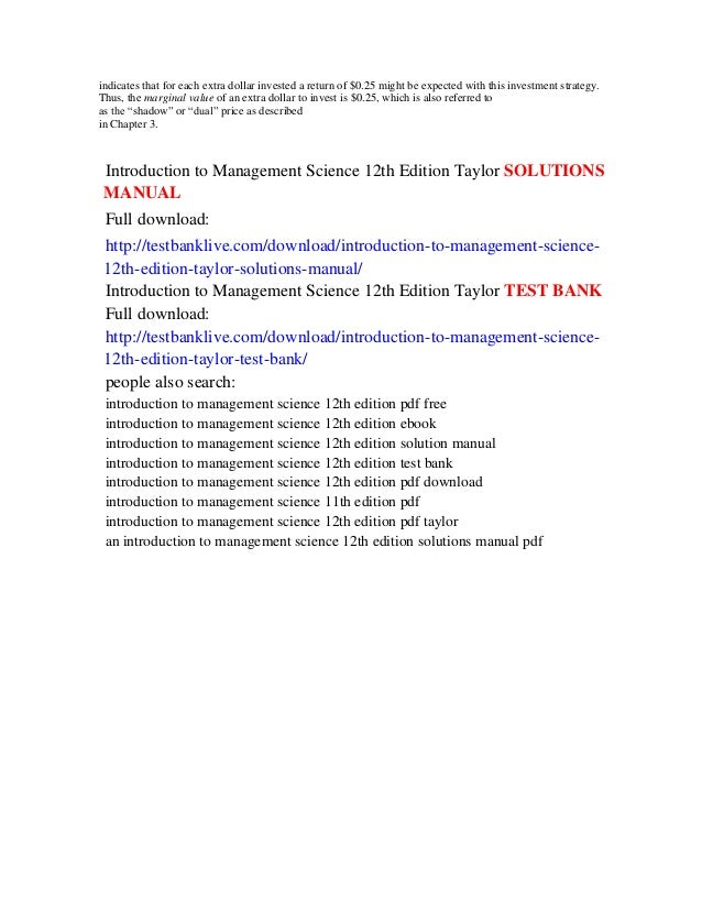 Introduction to management science 12th edition taylor solutions manu this 18 indicates fandeluxe Gallery