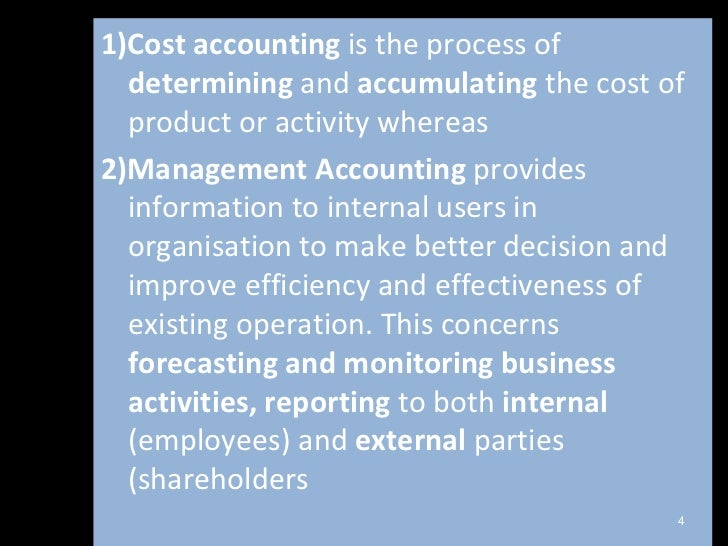 intro to management accounting Introduction to management accounting module description summary: think of an iphone how much do you think that it cost apple to make think of recent business news stories, with factory.