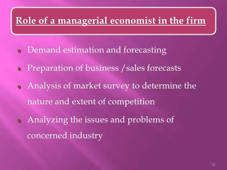 roles and responsibility of managerial economic