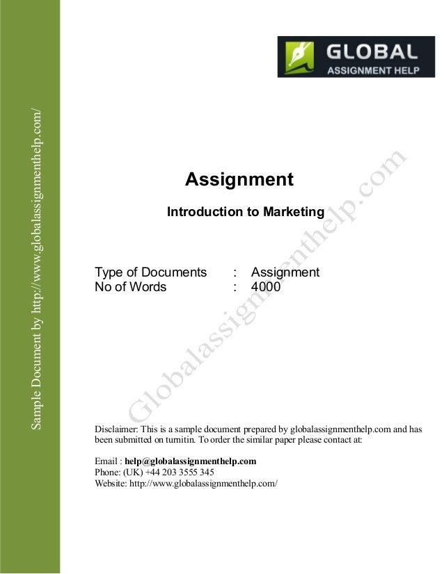 Introduction to Marketing Assignment Sample