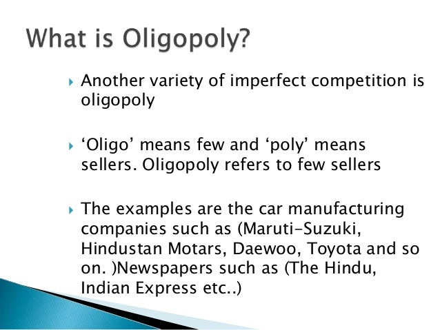 """oligopoly toyota The press confuses oligopoly and monopoly with some regularity the atlantic ran a recent infographic titled """"the return of the monopoly,"""" describing rising concentration in airlines, grocery."""