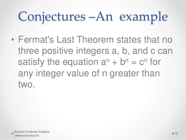 an introduction to fermats last theorem in mathematics Books & other media books - professional & technical mathematics fermat's last theorem: a genetic introduction to algebraic number theory this introduction to algebraic number theory via the famous problem of fermats last theorem follows its historical development, beginning with the work of fermat and ending with kummers theory of ideal.