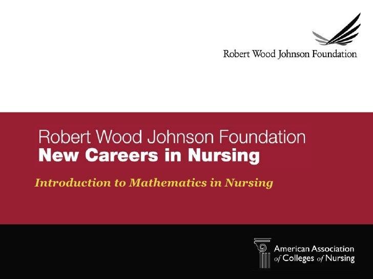 Introduction to Mathematics in Nursing