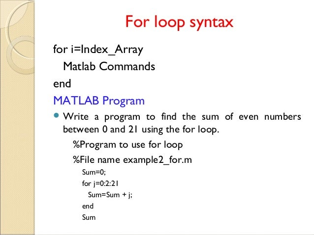How to write a loop in matlab