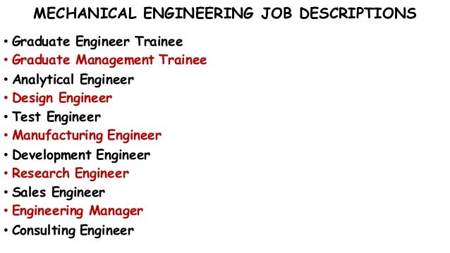 MECHANICAL ENGINEERING JOB DESCRIPTIONS ...