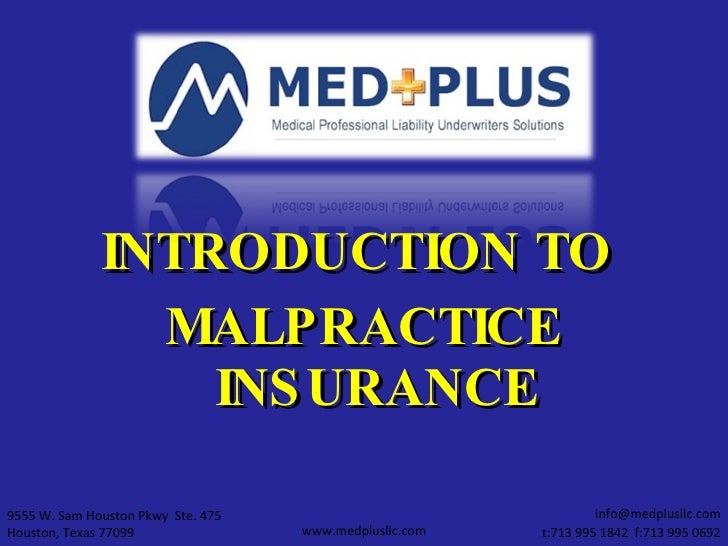 Introduction To Med Mal Insurance