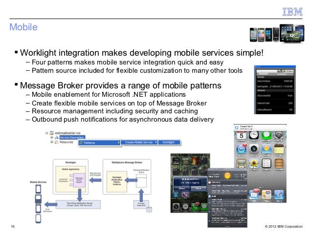 Mobile  Worklight integration makes developing mobile services simple!     – Four patterns makes mobile service integrati...
