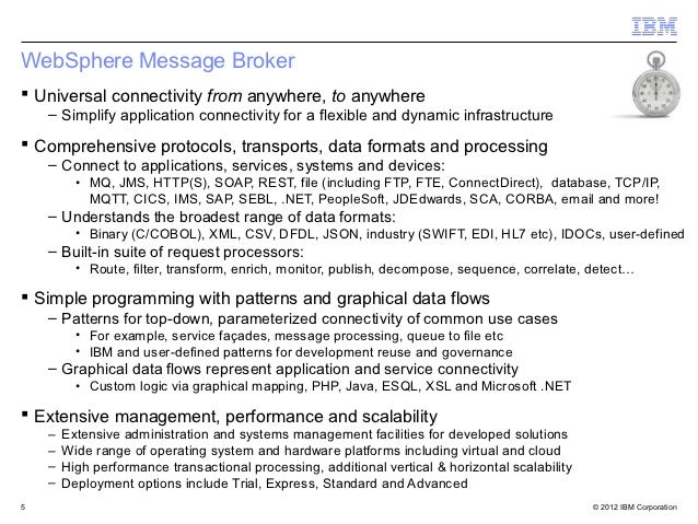 WebSphere Message Broker Universal connectivity from anywhere, to anywhere    – Simplify application connectivity for a f...
