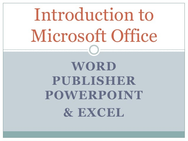 introduction to microsoft office