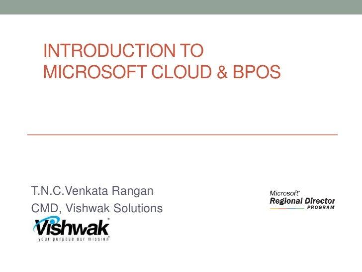 Introduction to Microsoft cloud & BPOS