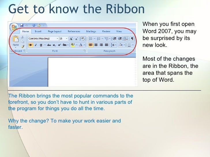 introduction to microsoft office 0 introduction to microsoft© word 2007  class learning objectives by the end of class, students should be able to perform the following tasks in.