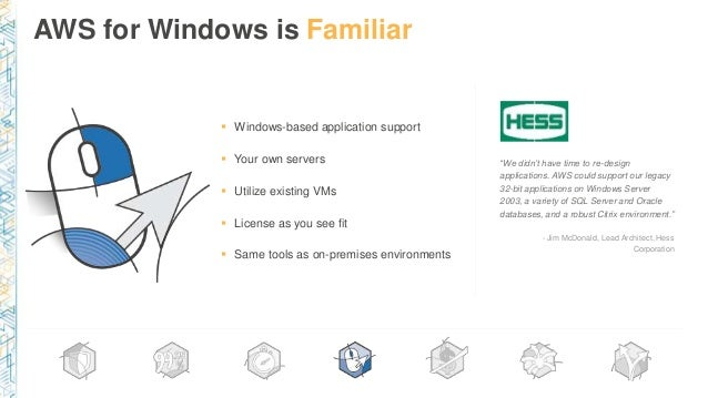 """AWS for Windows is Familiar """"We didn't have time to re-design applications. AWS could support our legacy 32-bit applicatio..."""