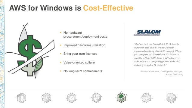 """AWS for Windows is Cost-Effective """"Had we built our SharePoint 2013 farm in our other data center, we would have increased..."""