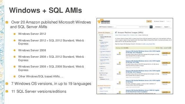 Windows + SQL AMIs Over 20 Amazon published Microsoft Windows and SQL Server AMIs Windows Server 2012 Windows Server 2012 ...
