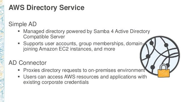 AWS Directory Service Simple AD  Managed directory powered by Samba 4 Active Directory Compatible Server  Supports user ...