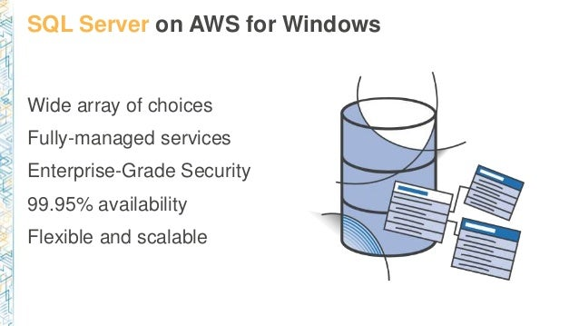 SQL Server on AWS for Windows Wide array of choices Fully-managed services Enterprise-Grade Security 99.95% availability F...