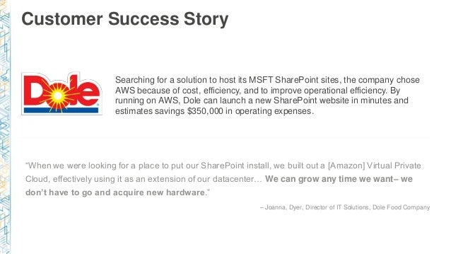 Customer Success Story Searching for a solution to host its MSFT SharePoint sites, the company chose AWS because of cost, ...
