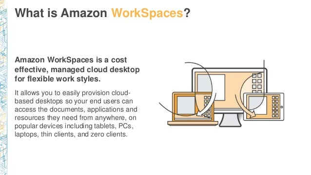 What is Amazon WorkSpaces? Amazon WorkSpaces is a cost effective, managed cloud desktop for flexible work styles. It allow...