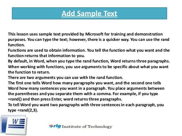 microsoft word sample