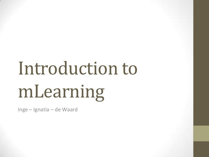 Introduction to mLearning for MobiMOOC