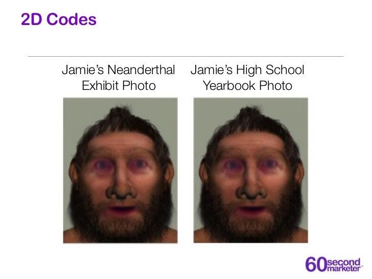 2D Codes    Jamie's Neanderthal   Jamie's High School       Exhibit Photo        Yearbook Photo