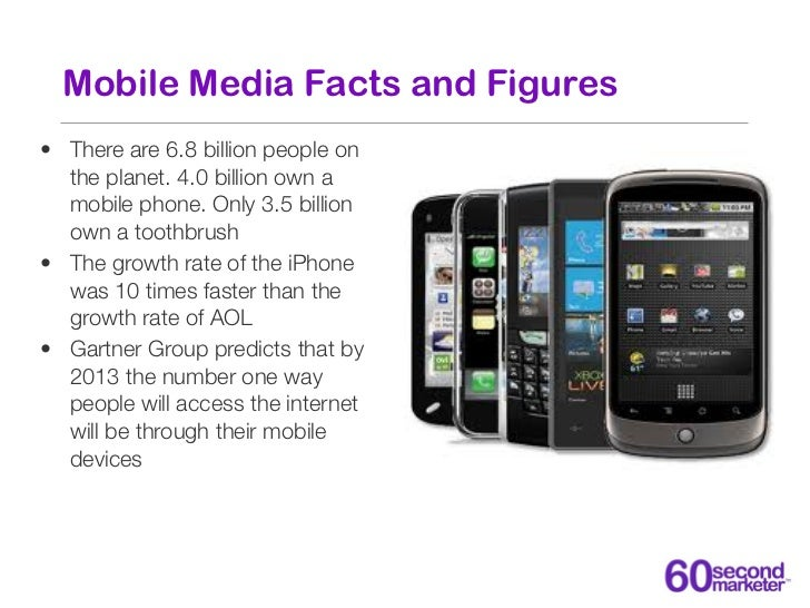 Mobile Media Facts and Figures• There are 6.8 billion people on  the planet. 4.0 billion own a  mobile phone. Only 3.5 bil...