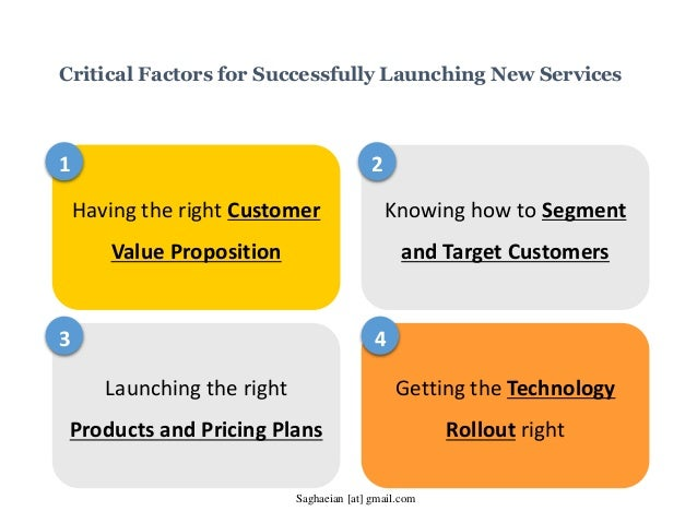 Critical Factors for Successfully Launching New Services Having the right Customer Value Proposition Knowing how to Segmen...